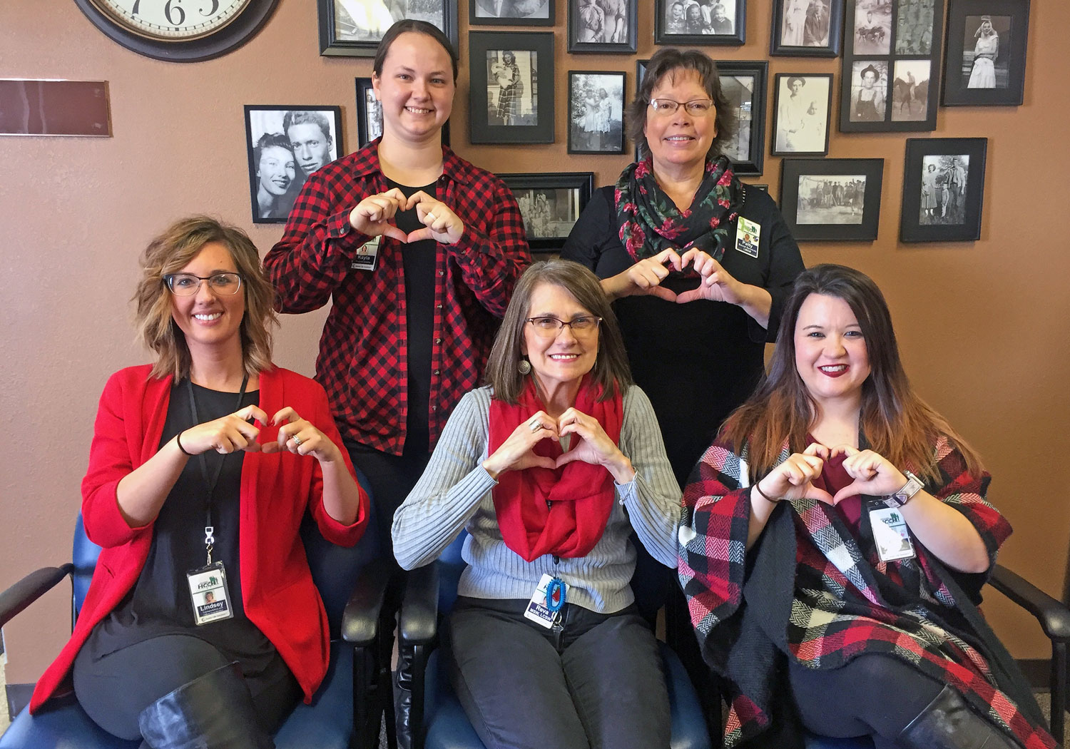 "Senior Life Solutions staff members say ""Happy Heart Month""!"