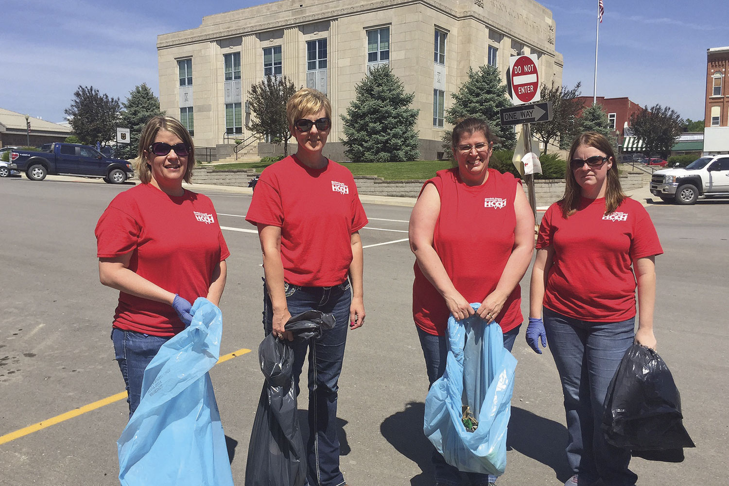 HCCH employees picked up trash during Hospital Week
